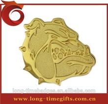 Bulldog Mascot Chenille Lapel Pin/sandblast gold animal pin badge