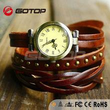 Brown Leather Bracelet Watch Vintage Round Rivets Retro Roman Dial