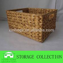 rectangular handwoven water hyacinth storage basket