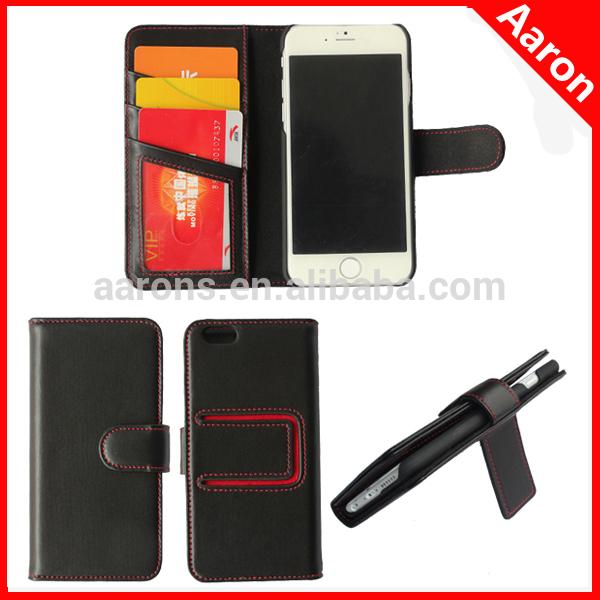 Para el iphone 6 funda de cuero genuino nueva llegada con la función de soporte, para el iphone 6 casos cartera