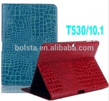 high quality Luxury Crocodile PU Leather Folio Stand case for samsung galaxy tab