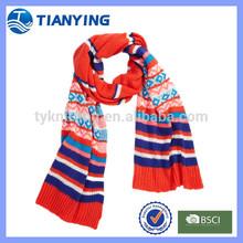 rainbow striped knit scarf girl's winter muffler scarf