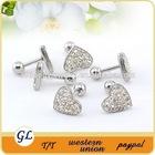 Heart shaped full crystal stainless steel white stone stud earrings