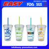 2014 New Design Plastic Straw tea Cup With Plastic Cap And Custom Logo 16oz (450ml)