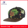 wholesale promotional custom-made flat brim design your leather patch logo custom hawaii floral printing snapback cap hat