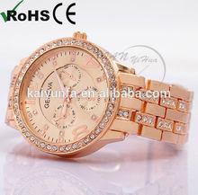 Luxury Rose-gold/ Silver geneva chrono diamond watch lady party watch