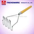 مربع المطبخ masher البطاطا دليل معالجة الخشب الصلب مع مطلي بالكروم