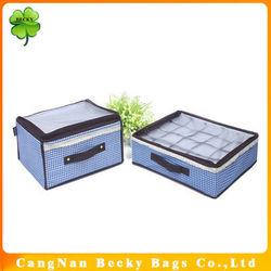 Hot sale 20 drawers nice cute underwear storage box with zipper closure