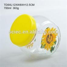 High quality sidelong glass candy jar