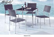modern Stainless Steel frame rattan dining set