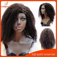 short 18inch 150% density malaysian virgin kinky curly u part wigs, machine made u part wig