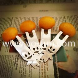 JET014 stainless steel sister girl cartoon happy shape fruit forks for kids