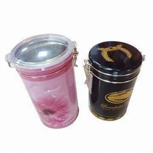 Round coffee/tea/cookie tin box with transparent plastic lid and wire closer
