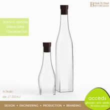 Handcrafted Custom Square Liquor / Alcohol / Glass Spirit Bottles