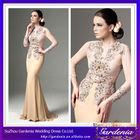 Latest 2014 Models Nude Color Beaded Chiffon Mermaid Long Sleeve Evening Dress Modern Kebaya Dress (ZX540)