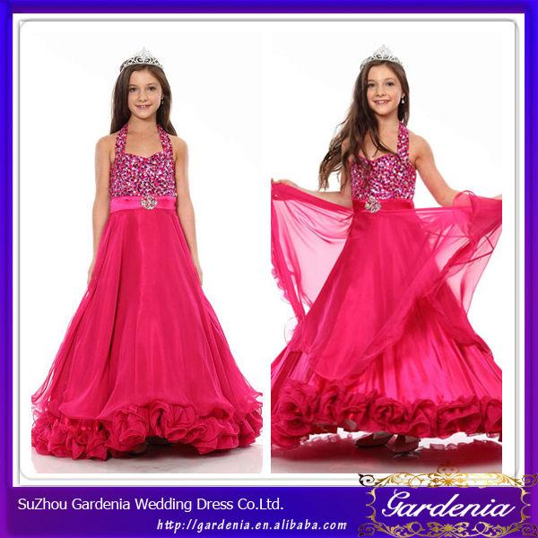 Mais recentes modelos 2014 top frisado chiffon saia em camadas quente vestidos cor de rosa para menina comunhao primeiro aniversário meninas vestidos( zx556)