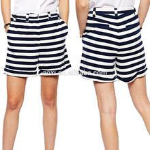 2014 Summer new design fashion ladies cotton blend black and white hot short pants elegant girls striped high-waist shorts