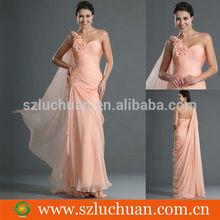 Unique Design Sleeveless Peach Chiffon One-shoulder Evening Dress