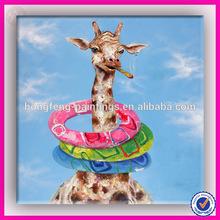 Modern pop art oil painting giraffe childrens art