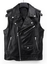 European Style High Quality Men's Fashion Leather Biker Vest