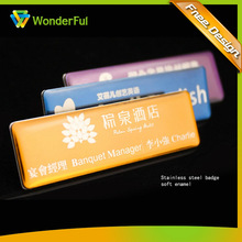 2014New Name Epoxy Name Badge Cheap Custom Metal And Acrylic Pin Or Magnetic Metal Name Badge
