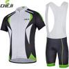 2014 Cheji sail green Cycling short sleeve jersey bib shorts set wholesale Quick Dry Bike wear bicycl clothes
