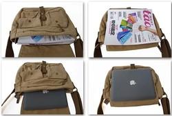 Popular Custom Casual College School Canvas Shoulder Bag for IPAD mini Laptop Study Messenger Bag