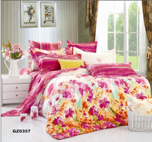 bridal bright color printed floral sheet sets for home