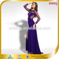 2016 New Trendy Dresses Long Sleeve Sequins Mesh Evening Dresses