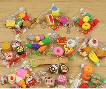 2015 new type promotional gift food & fruit animal shaped 3d novelty eraser manufacturer
