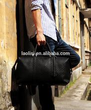 Guangzhou factory wholesale custom oem genuine leather luxury black travel duffle bag for men