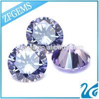 top quality Wuzhou artificial diamond 8mm round shaped lavender cz