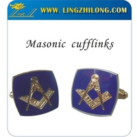 Custom Design Bulk Personalized Square Blue Enamel Masonic Mens Cufflinks