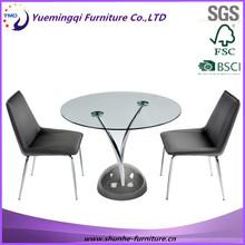 Glas und metall Konferenzraum tisch und stuhl/kleinen besprechungstisch und stuhl/neueste design runden Top-Büro tisch und stuhl