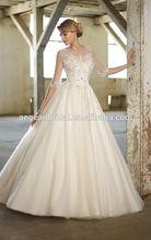 EW1 Luxury O-neck Half Sleeve Crystal Beads Long Tail Ball Gown Wedding Dress