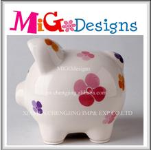 High Quality Souvenir Gift White Ceramic Paint Piggy Bank