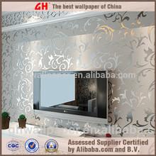 Leaf wall paper design home decor 3d wallpapers silver metallic wallpaper