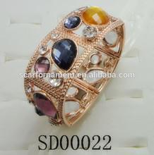 China Supplier Jewelry Gold/Rhodium Elastic Alloy Bracelet Handmade Alloy Diamond Beads Stretch Bracelet Square Rope Bracelet
