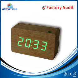 Home decor Wooden LED clock/Desk Clocks/ Sound Control Clock