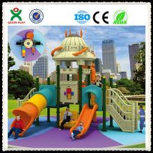 Customized transformer style outdoor playground equipment/plastic kids outdoor playsets /free children games mini slides QX-038B