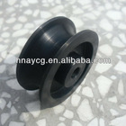 U V Belt Groove Hanging Roller Sliding Door Pulley Small Plastic Nylon Cable Rope Lifting Conveyors Pulley Wheels with Bearings