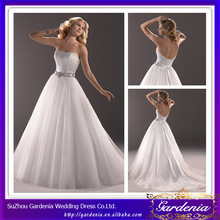High Quality Beautiful A Line Strapless Low Back Beaded Bodice Puffy Pictures Of Wedding Dresses For Pregnant Women (AB0534)