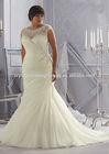 Cap sleeve beaded customize big size XL XXL lace mermaid wedding gowns CWFaw5803