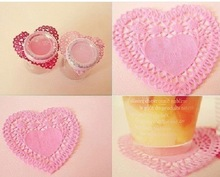 Food grade FDA heart colored paper lace doilies