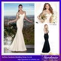 2014 nouveau designer gaine une épaule manches longues pure arrière appliqued satin perlé robes de soirée pour femmes voilées( ab0584)
