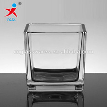 clear square glass candle cup / vase holder