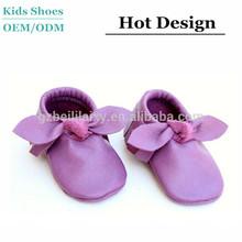 Infant prewalking shoes manufacturer custom soft sole leather baby moccasins, OEM Bebe shoes