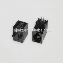 RJ11 Side Entry 4p Modular PCB Jack/Socket with Flat Pin
