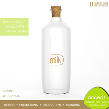Buy Big Airtight Glass Milk Bottle with Wooden Lid