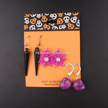 Spider Web and Skull Halloween Earring Set